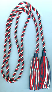 Single Honor Cord in 3 Colors - NAVY BLUE, WHITE and DARK RED